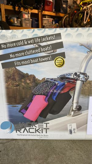 NEW Life-Jacket hanging rack for wake boat tower (Jacket Rack-It) for Sale in Bothell, WA