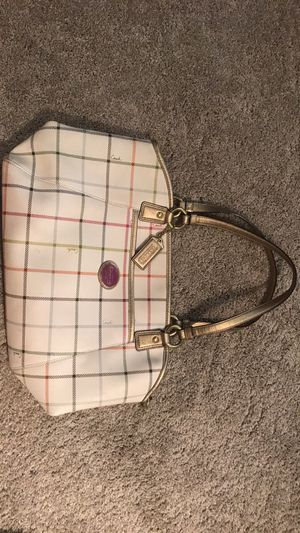 Coach plaid leather bag, large for Sale in Gambrills, MD