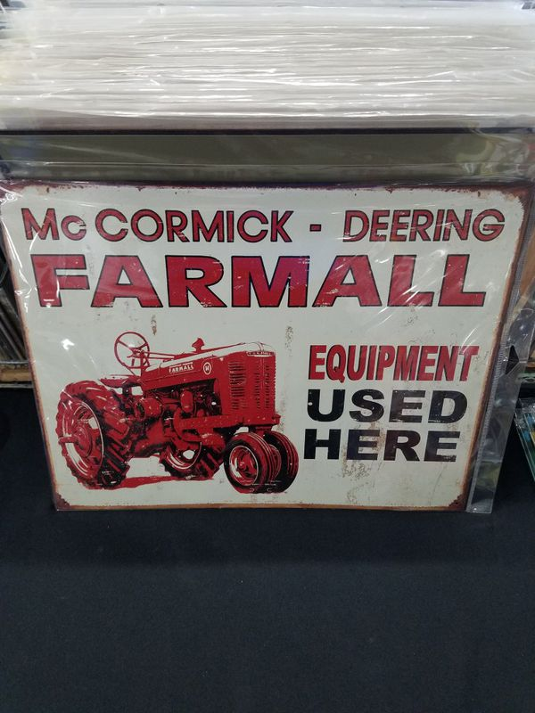Farmall farm tractor equipment used here tin metal sign