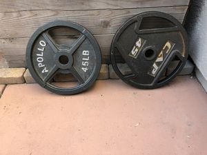 Olympic 45lb weight plates for Sale in Pleasanton, CA