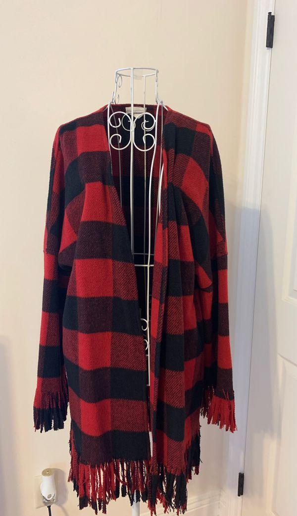 Plaid fringed women's jacket-Small