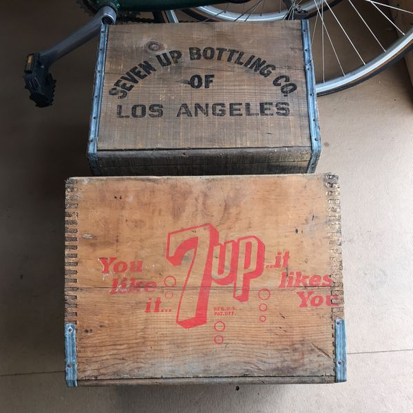 Two Vintage Seven Up Crates