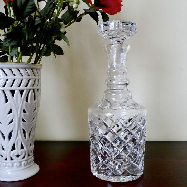 Antique Crystal 3 Ring Diamond Point Decanter