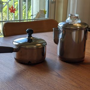 Mid Century Revere Ware Coffee Percolator and Saucepan/Pot Made in USA for Sale in Hollywood, FL