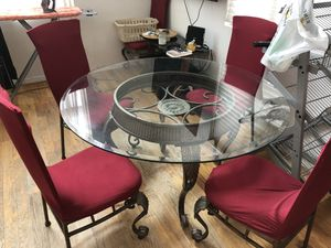 Round Glass Dinner Table with 6 chairs and covers for Sale in Celebration, FL