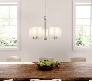 Menlo Park 5-Light Brushed Nickel Chandelier with Cream Fabric Shade for Sale in St. Louis, MO