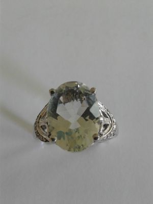 Faceted Green Amethyst Ring, Size 8, Platinum over Sterling Silver for Sale in Woodbridge, VA