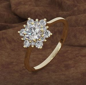 New 14k Gold/ 925 Sterling Silver Flower Design Ring. w/ AAA CZ diamond ring. For wedding engagement anniversary valentines gift for Sale in Los Angeles, CA