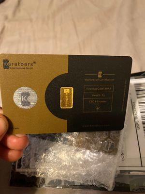 1g Karat gold bar for sale for Sale in Overton, TX