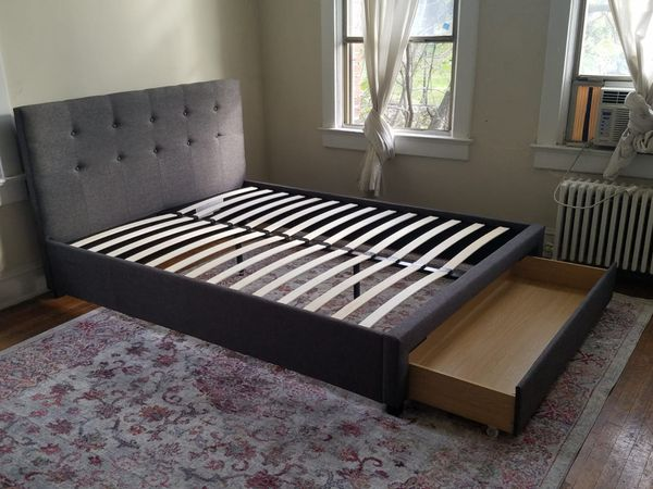 Brand New Queen Size Grey Upholstered Platform Bed Frame w/Storage Drawer