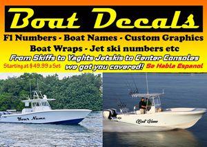 Boat jet ski canoe skiff decals for Sale in Hialeah, FL