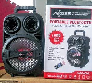 AXSESS/ SPEAKERS / BLUETOOTH KARAOKÉ /1500W / MP3. FMRADIO /AUX. /TFCARD / 8- INCH./🎤 MICROPHONE INC. CONTROL REMOTE BATTERY RECARGABLE. for Sale in Moreno Valley, CA