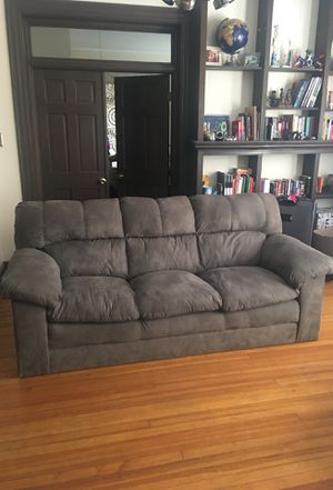 Perfect grey suede couch $100 pickup with a truck and two people for Sale in Denver, CO