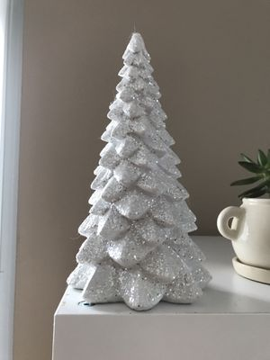 Christmas tree ornament white glitter tree wood decor for Sale in Los Angeles, CA