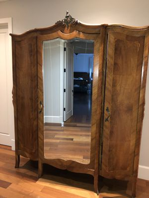 Bonn Ashley Wood Antique French Armoire with mirror for Sale in Miami, FL