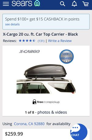 Sears XL Hardshell Cargo Car Top Carrier for Sale in Norco, CA