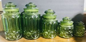 Set of 10 pieces L. E Smith Green container jars for Sale in West Palm Beach, FL