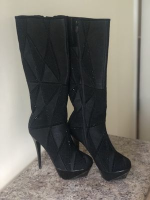 Black Rhinestone Heel Boots size 10 for Sale in Columbus, OH