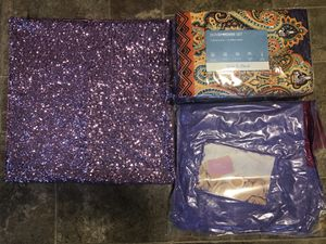 Queen duvet set includes 2 pillowcases/ sparkle pillow case/ faux fur purple throw blanket for Sale in Tulalip, WA