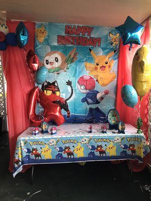 Pokémon background with 3 piece balloons for Sale in Alafaya, FL