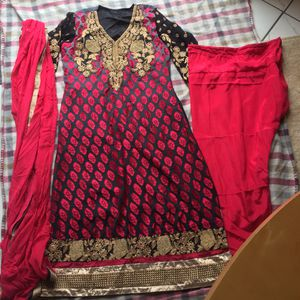 Pakistani Indian shalwar kameez anarkali Bollywood outfit party wedding dress suit fancy bland and red 3pc for Sale in Silver Spring, MD