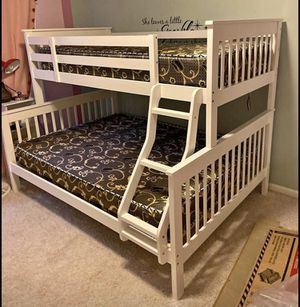 White Bunk Bed with FREE Mattresses!! Brand New Free Delivery for Sale in Chicago, IL