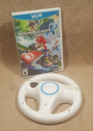 NINTENDO MARIO KART 8 WII U WITH WHEEL ACCESSORY for Sale in Tucson, AZ