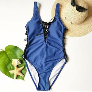 One piece blue swimsuit bathingsuit black ribbon Size S for Sale in GRANT VLKRIA, FL