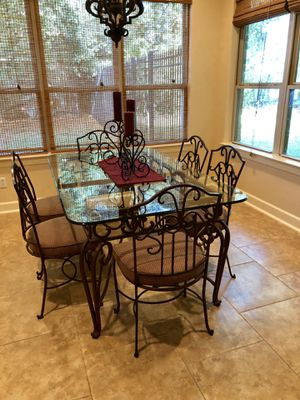 Iron and glass kitchen table and chairs for Sale in Spring, TX