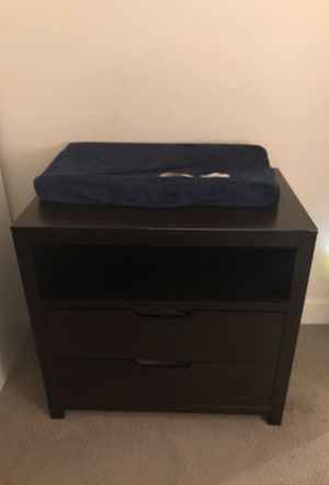 Changing table with changing pad dark wood for Sale in Dallas, TX