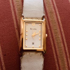 Vintage Bulova Women's Classic Watch - Rectangular - Gold-Tone - Leather Strap - Date THAT WORKS LIKE A CHARM! for Sale in MONTE VISTA, CA