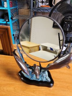 Vintage Dolphin 🐬 mirror Cast iron base About a foot tall for Sale in Portland,  OR