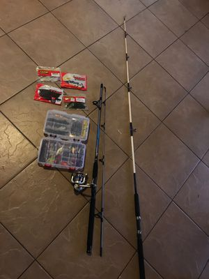FISHING RODS AND LURES GREAT DEAL BLACK ANF GREY ROD NEVER USED BEFORE WITH REAL THEY ARE BOTH SALTWATER FISHING POLES with some brand new bass lures for Sale in Hemet, CA