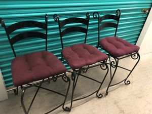 3 beautiful black metal bar stools chairs. for Sale in Boynton Beach, FL