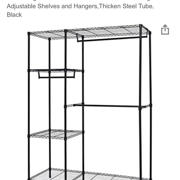 Finnhomy Heavy Duty Wire Shelving Garment Rack for Closet Organizer Portable Clothes Wardrobe Storage with Adjustable Shelves and Hangers,Thicken Stee