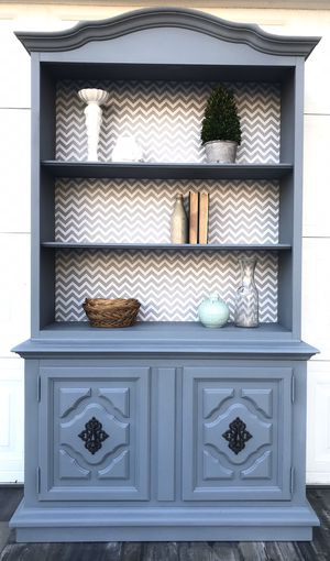 Antique solid wood grey hutch display shelf cabinet bookshelf book case curio for Sale in Alta Loma, CA