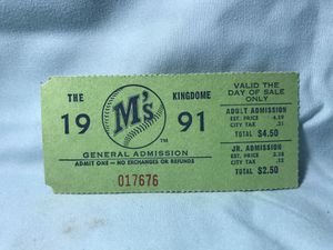 Mariners ticket from 1991 for Sale in Tacoma, WA