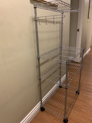4 Tier Microwave Stand Storage Rack, Kitchen Wire Shelving Microwave Oven Baker's Rack with Hooks Silver Grey for Sale in Whittier, CA