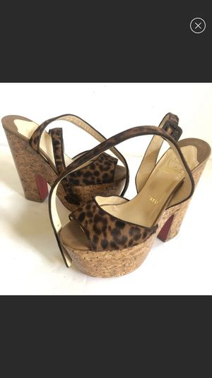 Christian louboutin pony hair cheetah print heels size 37 for Sale in West Hollywood, CA