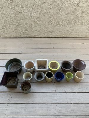 Lot of 14 POTS Outdoor Vegetable Flower Plant Ceramic and Metal Pot Garden for Sale in Oceanside, CA