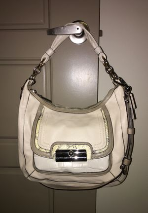 Coach cream leather with alligator and snakeskin trim medium hobo bag for Sale in Nashville, TN
