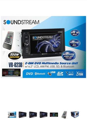 """Soundstream VR-623B 6.2"""" Touchscreen High Resolution TFT LCD Car CD DVD MP3 Receiver w Built-in Bluetooth V3.0 Hands Free Calls Audio Streaming USB A for Sale in Los Angeles, CA"""