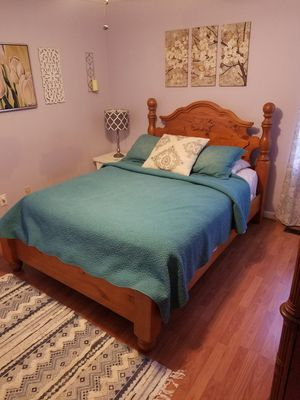 Queen sized bed frame with headboard and footboard. for Sale in Cary, NC
