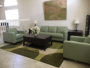 Like new leather couches mint green for Sale in Miramar, FL
