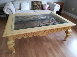 Coffee table for sale - antique look with solid wood and wrought iron for Sale in Livingston, NJ