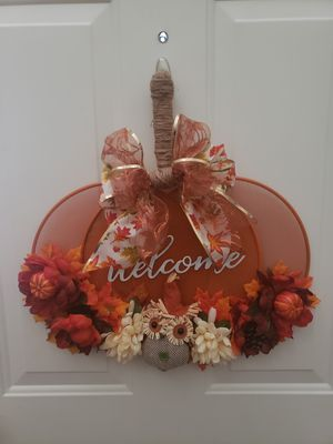 Fall Harvest Welcome Pumpkin Sign Wreath for Sale in Eagle Lake, FL