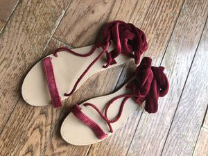 Ankle Wrap Sandals by Forever 21 Burgundy Suede Size 7M for Sale in Pittsburgh, PA