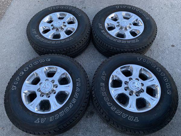 "Like new 18"" Dodge Ram alloy Rims And Firestone Tires 18"" 18 Wheels Limited Long Horn Laramie Rines y Llantas Take offs off takeoffs pull pulloffs s"