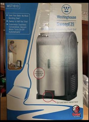 sweepeze automatic vacuuming dust bin for Sale in Otego, NY
