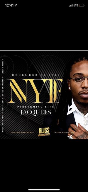 Jacquees Live New Years Eve Celebration for Sale in Washington, DC